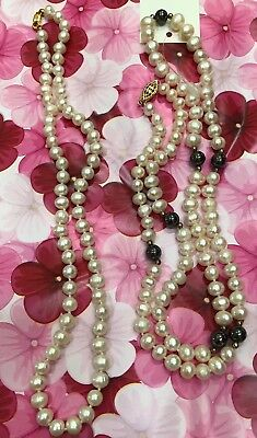 "SET of 2 Freshwater PEARL NECKLACES   19"" and  29"" long"