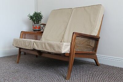 A Vintage 1940s  CURTIS'S Of London Teak & Rattan Two Seated Sofa Settee Danish