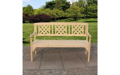 New 3 Seater Home Outdoor Wooden Garden Park Bench Seat Chair Wood Patio Lounger