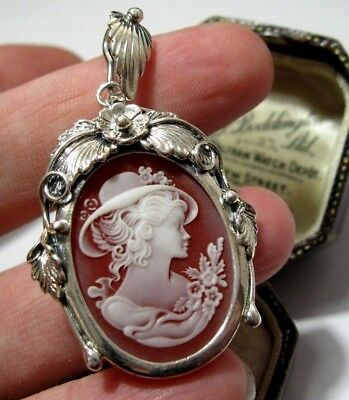 VINTAGE Style STERLING SILVER Pretty Edwardian Lady CAMEO JEWELLERY PENDANT