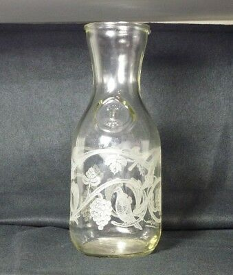 Vintage glass wine carafe PAUL MASSON 1988, Embossed 'Since 1852', Etched