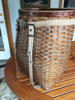 Vintage Pack Basket Hand Woven 16 x 11 x 21 tall