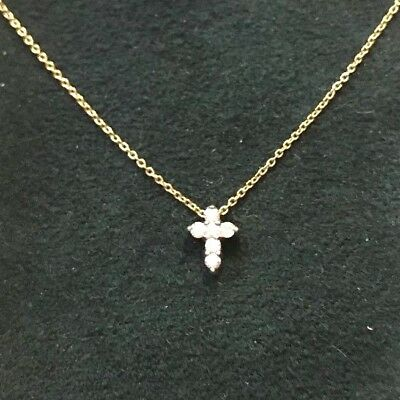 "Roberto Coin 18k yellow gold diamond cross necklace w/ Box 16"" chain NO RESERVE"