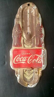 c 1941-42 Coco Cola Double Bottle Thermometer by Robertson Dualife