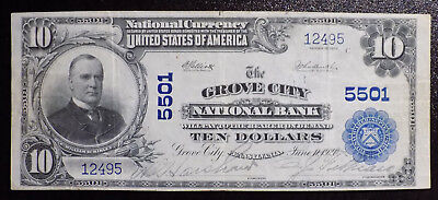 1902 $10 Grove City National Bank Note Pennsylvania VF