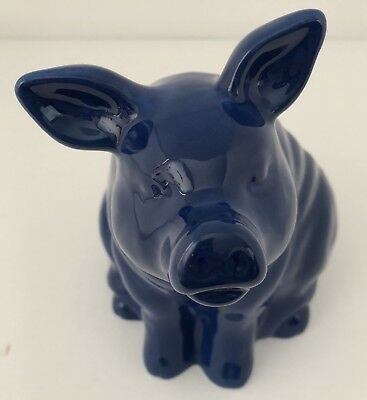 """THE NELLY'S"" BLUE PORCELAIN CERAMIC PIG HOG BOAR Planter Flower Pot Figurine"