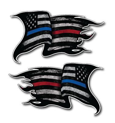 Thin Blue Red Line Subdued Tattered American Flag decal sticker Police Officer