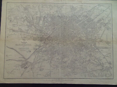 Manchester & Salford Town Plan B.r.davies Weekly Dispatch Atlas Dated 1863