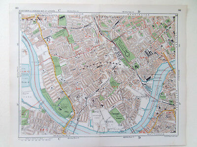 "LONDON OLD MAP FULHAM EARLS COURT CHELSEA PARSONS GN 9 x12"" DATE 1920 STANFORD'S"