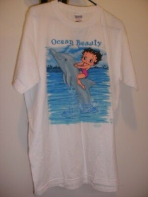 Betty Boop Ocean Beauty Dolphin Adult T-Shirt Short Sleeve White Large (NwT)