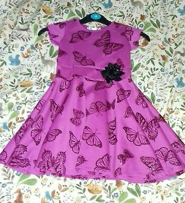 Lovely dark pink girls dress age 4-5y new without tags