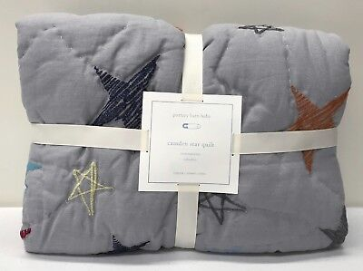 NEW Pottery Barn KIDS Camden Star Embroidered Toddler Crib Quilt, GRAY
