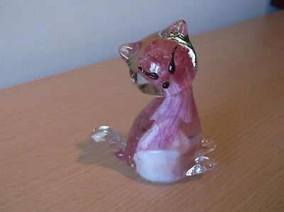 Pink/White/Clear Murano Glass Cat