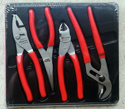 NEW Snap-on 4-piece Plier & Cutter Set PL400B Adjustable Slip Joint Needle Nose