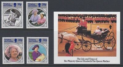 TRISTAN DA CUNHA 1985 Queen Mother Life & Times MINT SET & SHEET sg390-394 MNH