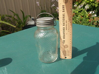 """Vintage """"jumbo""""  Peanut Butter Jar, 24 Oz,  With Wire Bale, Tapered Sides"""
