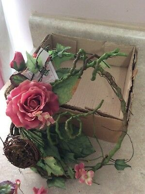 Home Interior / Homco Set Of 2 Pink Roses With Birds Nest Candle Rings