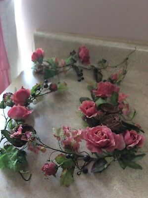 Home Interior / Homco Set Of 4 Pink Roses With Birds Nest Swags Or Vines