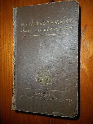 Vintage Ww2 Soldiers New Testament Daily Reading Four Gospels~1942~Catholic