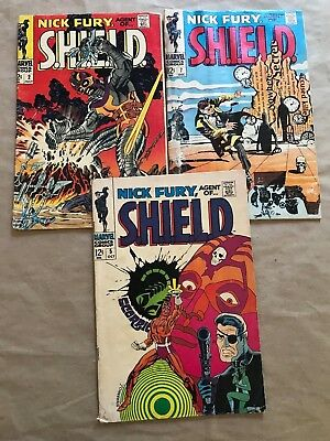 Lot Of 3 Nick Fury, Agent Of S.h.i.e.l.d. #2 #5 #7 (Marvel,1968)