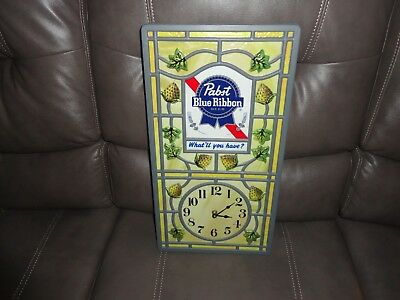 Pabst Blue Ribbon Beer Clock. 19in. long x 10in. wide (Plastic)