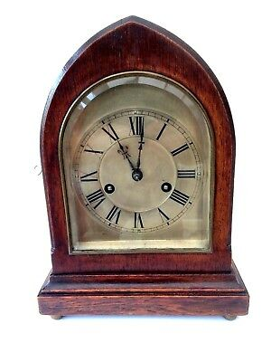 Antique German Oak Lancet Striking Mantel Clock