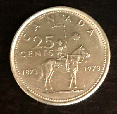 1973 Canadian RCMP Mountie 25 Cent Coin - Canada Quarter - Queen Elizabeth II VF