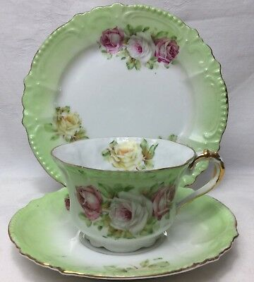 c.1900s ANTIQUE SPRING ROSES TEA CUP TRIO SET#11