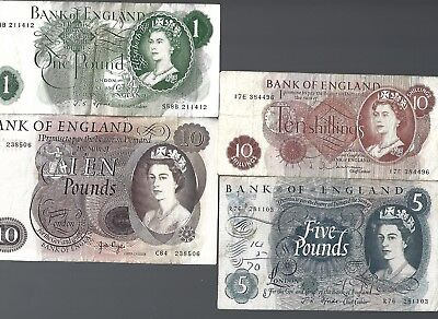 Bank of England 10 Shillings, 1, 5, 10 pounds 4 pieces lot #1644