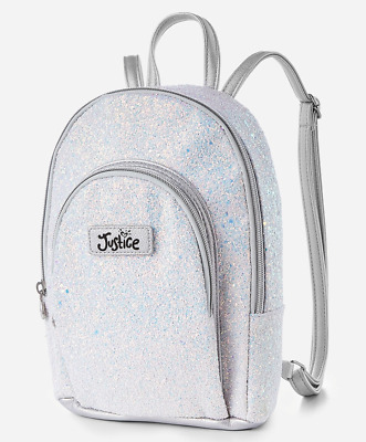 Justice Girl's SILVER Glitter Mini Backpack New with Tags