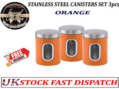 Stainless Steel 3pc Canisters Sugar Coffee Tea Jar Kitchen Storage Tin Container