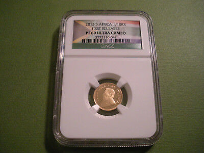2013 South Africa Gold Proof 1/10 KR First Release NGC PF 69 Ultra Cameo