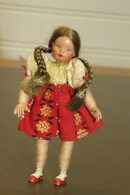 """VINTAGE German Miniature Caco? Dollhouse Doll Girl with Pigtails 3.5"""" Tall"""