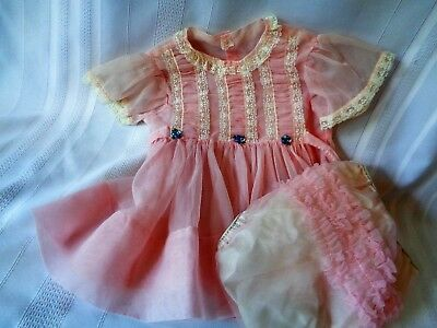 Vintage BABE FROCK Sheer PINK Baby Dress Diaper Cover Lace Smocking Large