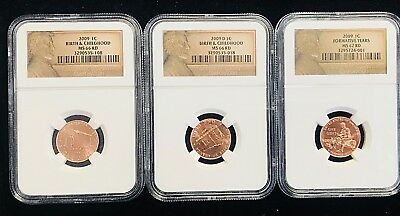 Lot of Three-2009 LINCOLN CENT FORMATIVE YEARS 2-NGC GRADED MS 66 RD 1 -MS 67 RD
