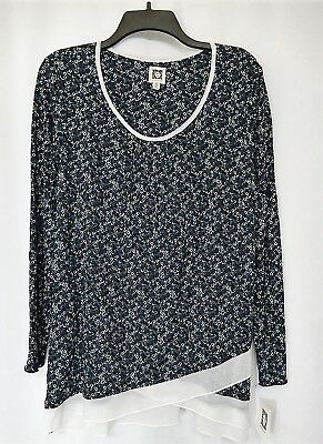 Anne Klein Long Sleeve Pajama Top M Medium Blue Layered Look New