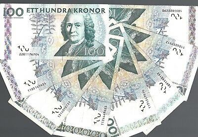 Sweden 100 Kronor x 8 pcs banknote lot #6704