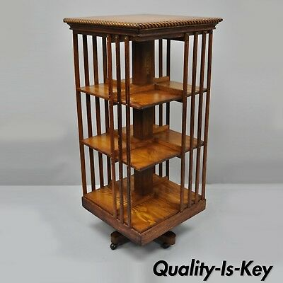 Danner Golden Oak Revolving Lawyers Bookcase Stand 3 Tier Mission Arts & Crafts