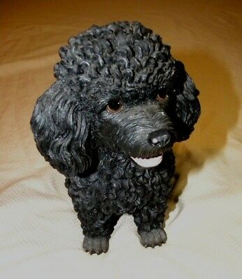 """Sitting Black Poodle Statue From Danbury Mint 9"""""""