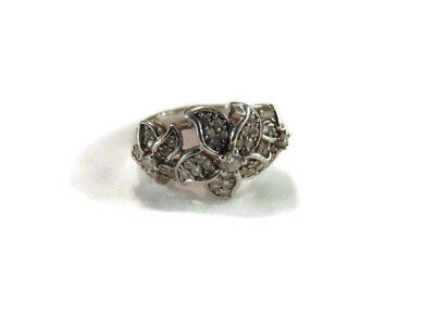 Vintage Sterling Silver Cubic Zirconia Ring, Floral Design Silver Ring