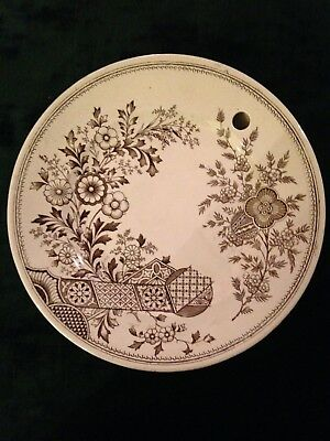 Rare Antique Brown On White Transferware Warming Plate - Aesthetic Movement