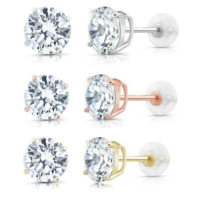 2.00 CT Gorgeous Round Diamond Studs 14K Solid Gold Basket Earrings In Gift Box