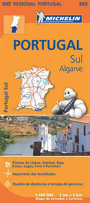 Portugal South  Map - New - Michelin 593 Portugal Regional Mapping - 2017