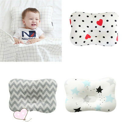 Newborn Baby Breathable Pillow Prevent Anti Roll Flat Head Cushion Pillows 9UK
