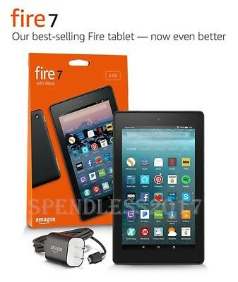 """NEW Amazon Fire 7 Tablet with Alexa, 7"""" Display, 8 GB, Black - w/Special Offers"""