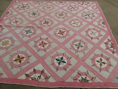 Antique Quilt Rare Pattern Nautical Ships Wheel Hand Stitched