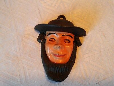 Vintage Novelty Amish Man Door Knocker Cast Iron 2 Piece Eyes Roll Cute!!