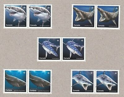 = SHARKS = full set of 5 stamps in pairs from Uncut Sheet Canada 2018
