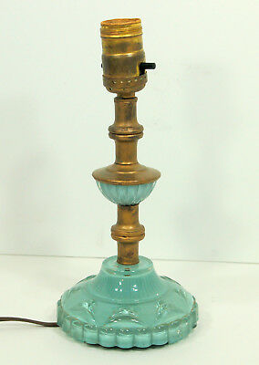 "Unique Antique Vintage Glass & Brass Turquoise Blue Mint Green Lamp 10"" Tall"