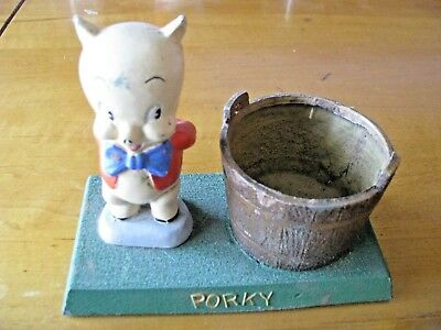 Vintage Porky Pig Cast Iron Rare Wishing Well Bank No Cover Great Condition
